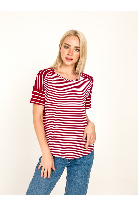 1031-1 -  Эта блузка-тельняшка свободного покроя с удлиненным плечевым швом и коротким притачным рукавом станет Вашей любимой вещью в гардеробе.
