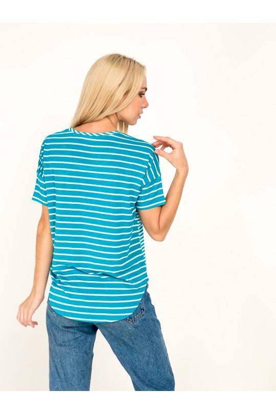 1031-2 -  Эта блузка-тельняшка свободного покроя с удлиненным плечевым швом и коротким притачным рукавом станет Вашей любимой вещью в гардеробе.