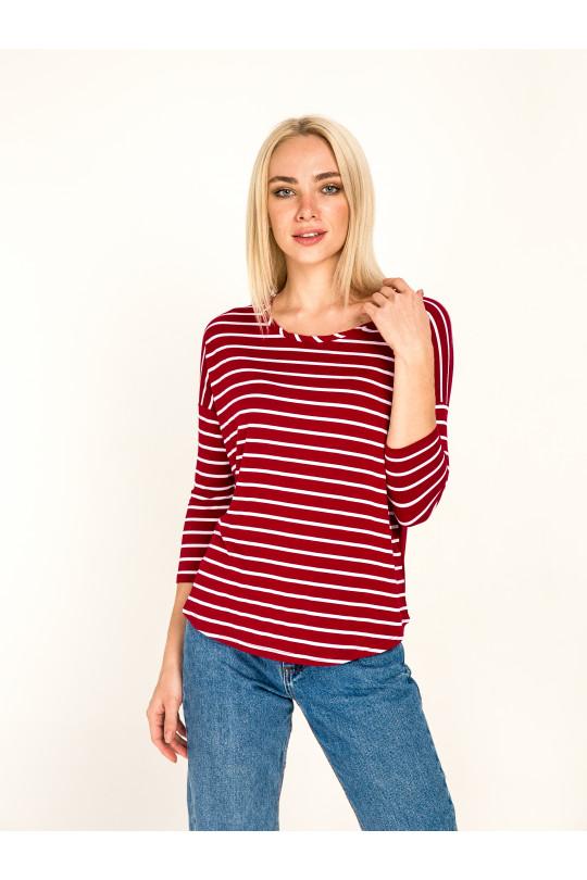 1032-1 -  Эта блузка свободного покроя с удлиненным плечевым швом и рукавом 7/8 станет Вашей любимой вещью в гардеробе. Низ переда и спинки скруглен, спинка удлиненная