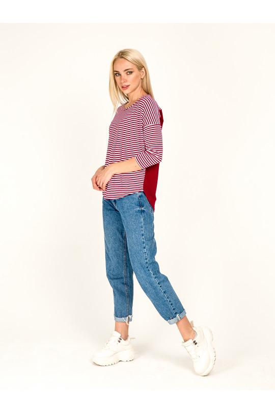 1032-2 -  Эта блузка свободного покроя с удлиненным плечевым швом и рукавом 7/8 станет Вашей любимой вещью в гардеробе. Низ переда и спинки скруглен, спинка удлиненная.