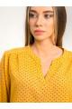 1081 - Блузка свободной формы из штапельного полотна с яркой набивкой создаст прекрасное настроение для любого случая. Рукав 7/8 на свободной резинке обеспечивает полную свободу рук, а резинка по низу контролирует перемещение низа.