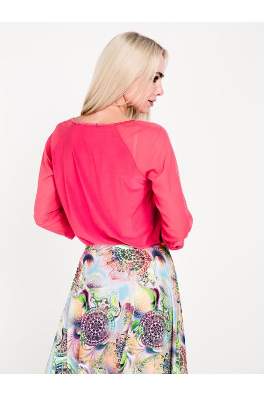 1523-2 - Стильная блузка покроя реглан с рукавами длин