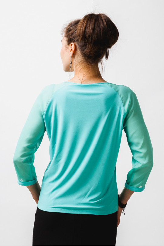 1523-5 - Стильная блузка покроя реглан с рукавами длин