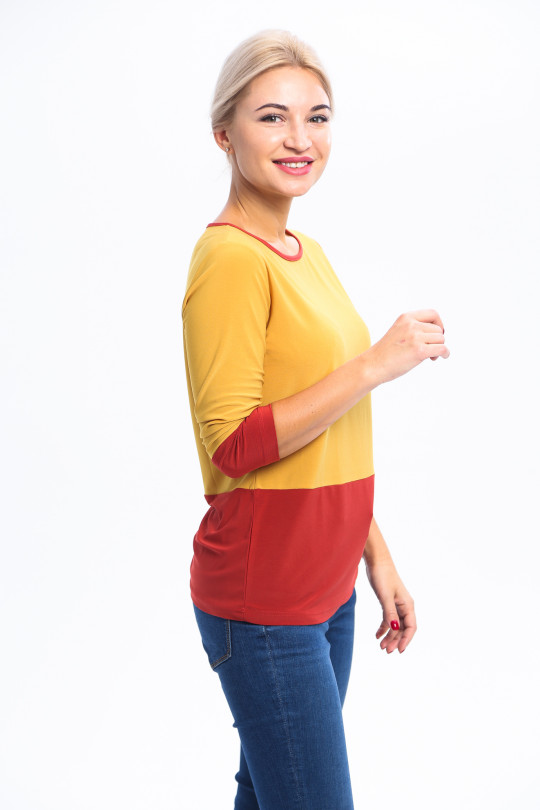 1833-2 - 2-х цветная  блузка из шелковистого полотна с р
