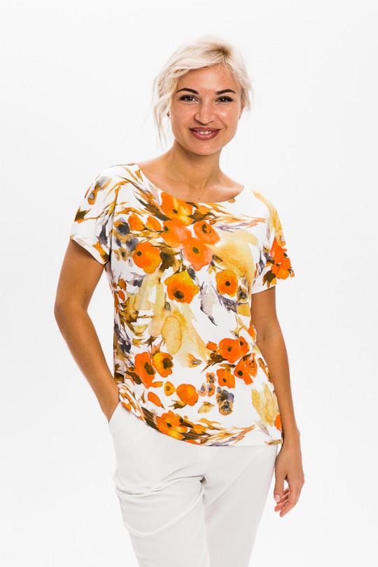 1951-1 - Легкая блузка из шелковистого полотна свободного