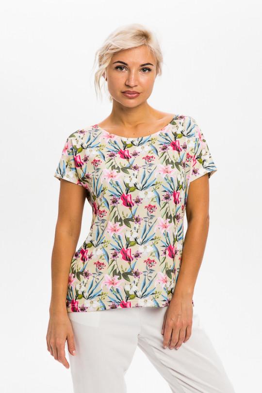 1951-2 - Легкая блузка из шелковистого полотна свободного