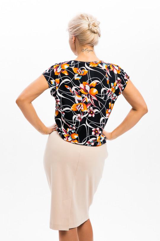 1952-1 - Блузка свободного облегания со спущенным плечом