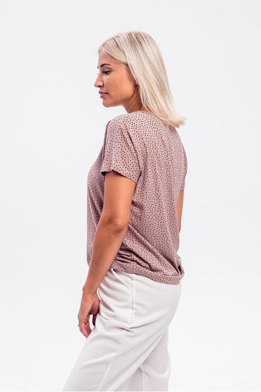 """1954-1 - Комфортная блузка из вискозного полотна с набивкой """"пшено"""" и рукавом японка."""