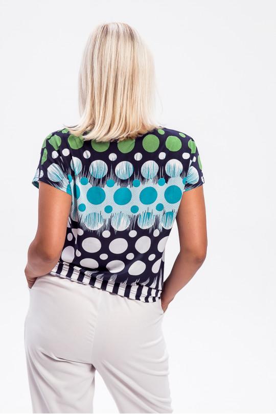 1955-3 - Эффектная блузка покроя японка, выполненная из шелковистого легкого полотна, придаст ощущение радости в любую погоду.
