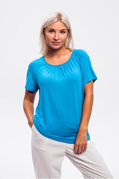1965-2 - Легкая блузка из вискозного полотна с рукавом реглан и легкой сборкой на горловине полочки придаст невероятное ощущение комфорта в жаркую погоду.