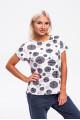 1966-1 - Милая блузка из легкого вискозного полотна со спущенным плечом свободного силуэта. По бокам небольшие разрезы низ разноуровневый.