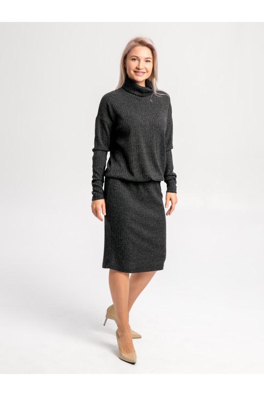 """20111-1 - Платье из полотна типа """"резинка"""" средней плотности подойдет женщине или девушке с любой фигурой. Объемный верх длиной до середины бедра стянут на резинку, которую можно расположить где удобно."""