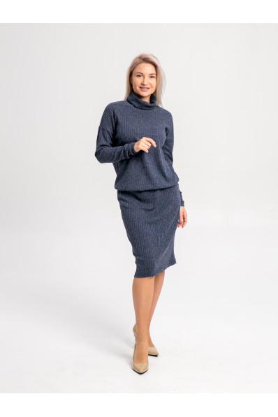 """20111-2 - Платье из полотна типа """"резинка"""" средней плотности подойдет женщине или девушке с любой фигурой. Объемный верх длиной до середины бедра стянут на резинку, которую можно расположить где удобно."""