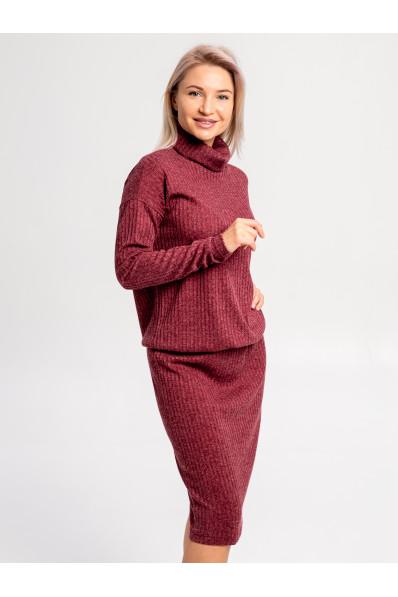 """20111-3 - Платье из полотна типа """"резинка"""" средней плотности подойдет женщине или девушке с любой фигурой. Объемный верх длиной до середины бедра стянут на резинку, которую можно расположить где удобно."""