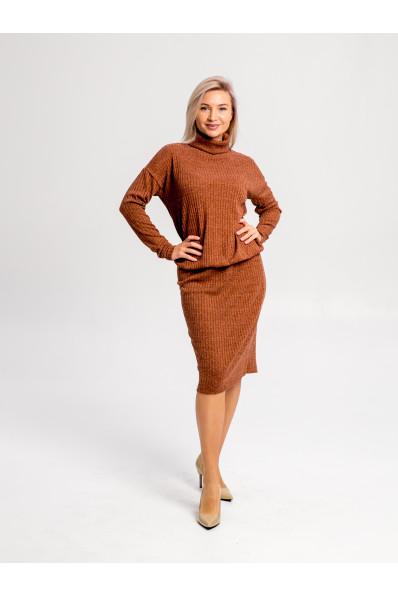 """20111-5 - Платье из полотна типа """"резинка"""" средней плотности подойдет женщине или девушке с любой фигурой. Объемный верх длиной до середины бедра стянут на резинку, которую можно расположить где удобно."""