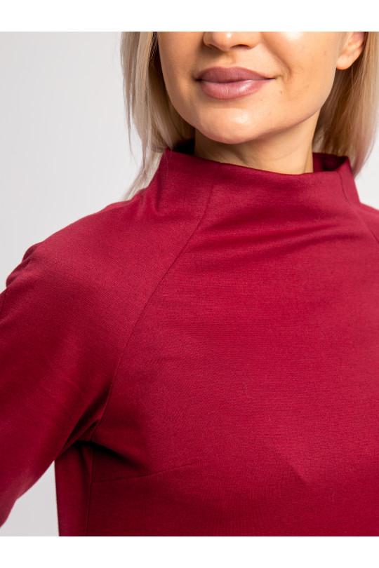 2012-2 - Платье покроя реглан с высоким цельнокроеным воротником и рукавом 3/4 выполнено из полотна средней плотности.