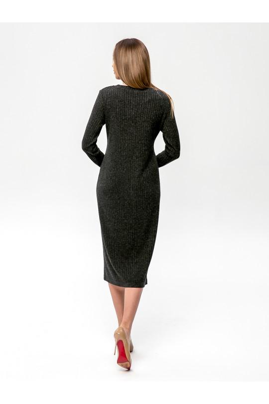 """2091-1 - Платье из полотна типа """"лапша"""" прямого силуэта с длинным рукавом, длиной до середины икры, необыкновенно комфортно и пригодится для любого случая. Горловина обработана притачной бейкой."""