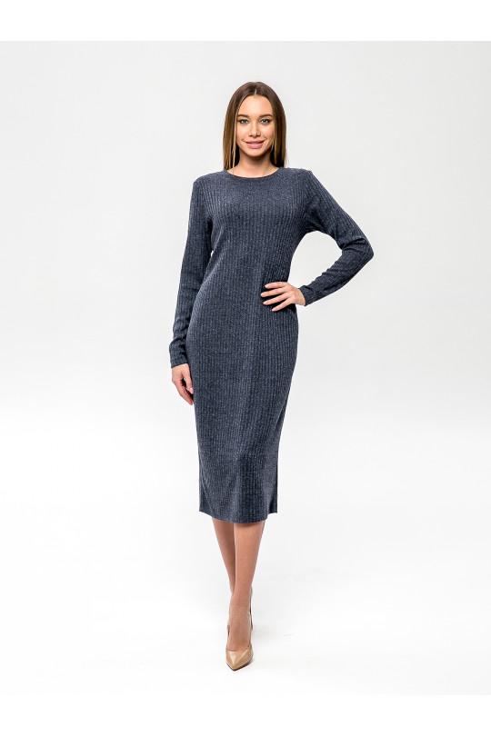 """2091-2 - Платье из полотна типа """"лапша"""" прямого силуэта с длинным рукавом, длиной до середины икры, необыкновенно комфортно и пригодится для любого случая. Горловина обработана притачной бейкой."""