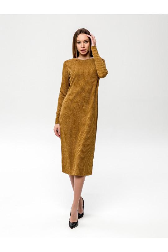 """2091-4 - Платье из полотна типа """"лапша"""" прямого силуэта с длинным рукавом, длиной до середины икры, необыкновенно комфортно и пригодится для любого случая. Горловина обработана притачной бейкой."""