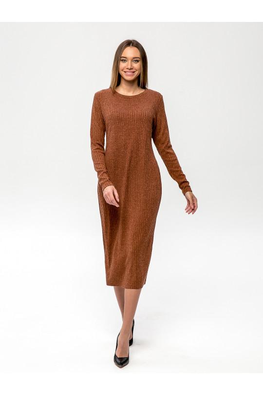 """2091-5 - Платье из полотна типа """"лапша"""" прямого силуэта с длинным рукавом, длиной до середины икры, необыкновенно комфортно и пригодится для любого случая. Горловина обработана притачной бейкой."""