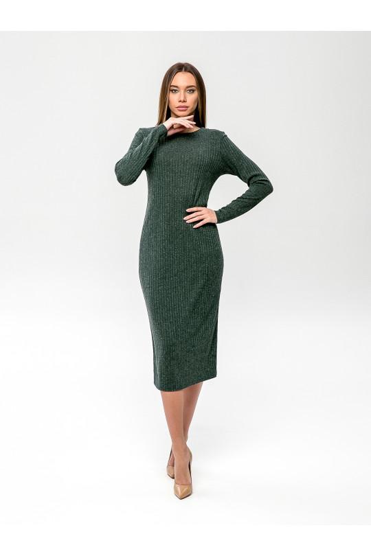 """2091-6 - Платье из полотна типа """"лапша"""" прямого силуэта с длинным рукавом, длиной до середины икры, необыкновенно комфортно и пригодится для любого случая. Горловина обработана притачной бейкой."""