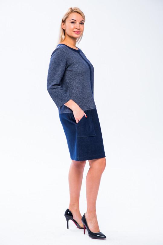 2841 - Стильное платье из двухстороннего хлопкового