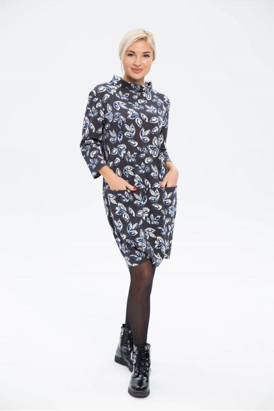 2921-1 - Платье из набивного полотна прямого силуэта с