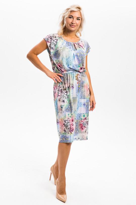 2951-2 - Платье прямого силуэта с резинкой по талии из