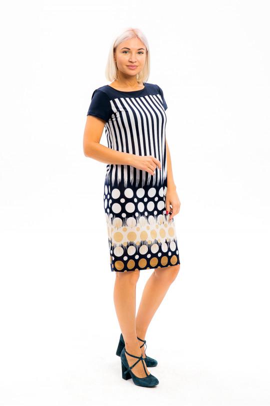 2953-1 - Платье прямого силуэта с  эффектной набивкой  - Вы точно будете в центре внимания! Кокетка переда и спинки и рукава выполнены из однотонного полотна.