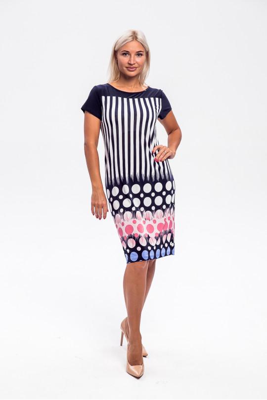 2953-2 - Платье прямого силуэта с  эффектной набивкой  - Вы точно будете в центре внимания! Кокетка переда и спинки и рукава выполнены из однотонного полотна.