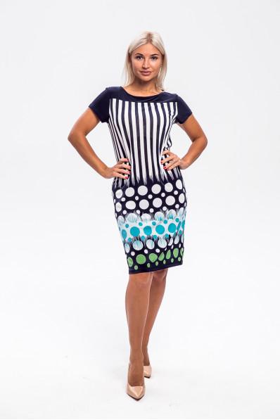 2953-3 - Платье прямого силуэта с  эффектной набивкой  - Вы точно будете в центре внимания! Кокетка переда и спинки и рукава выполнены из однотонного полотна.