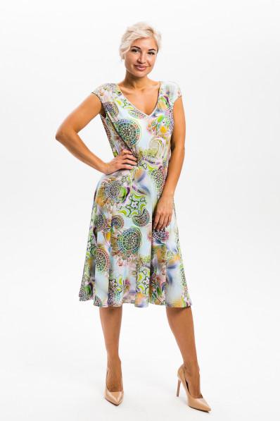 2954-1 - Платье приталенного силуэта, с у-образной горловиной