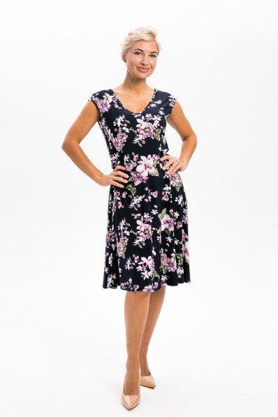 2954-2 - Платье приталенного силуэта, с у-образной горловиной