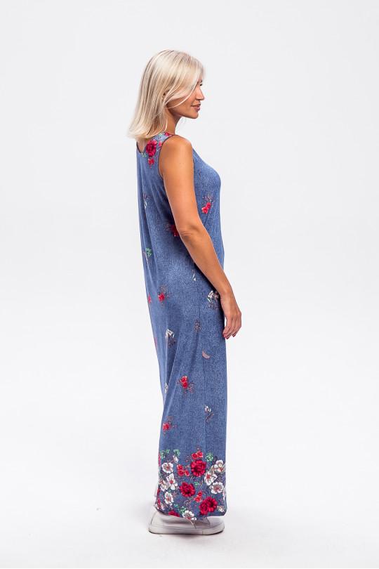 2961-1 - Платье-сарафан длиной до щиколотки слегка расклешенного силуэта с  красивой набивкой и свободным облеганием