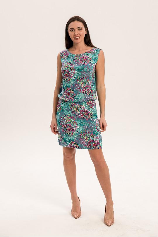 2961 - Летнее платье без рукавов прямого силуэта. По линии бедер в кулиске протянута резиновая тесьма, что позволяет менять длину платья по своему желанию.