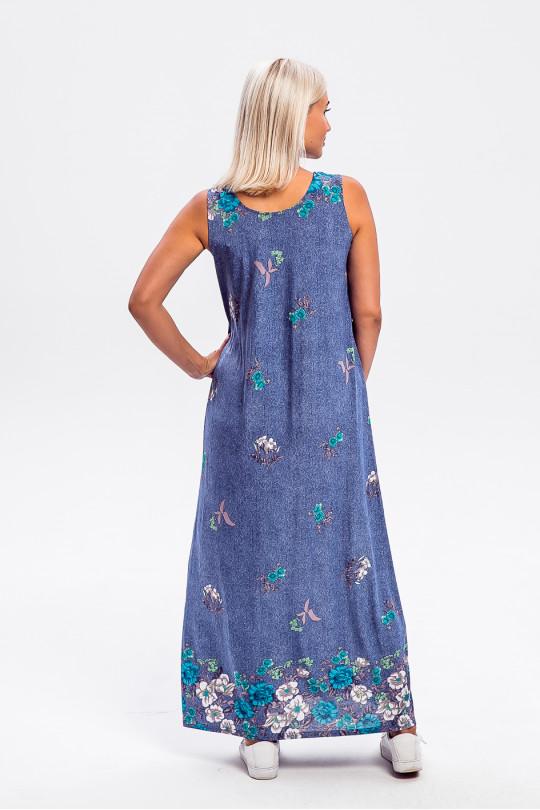 2961-2 - Платье-сарафан длиной до щиколотки слегка расклешенного силуэта с  красивой набивкой и свободным облеганием