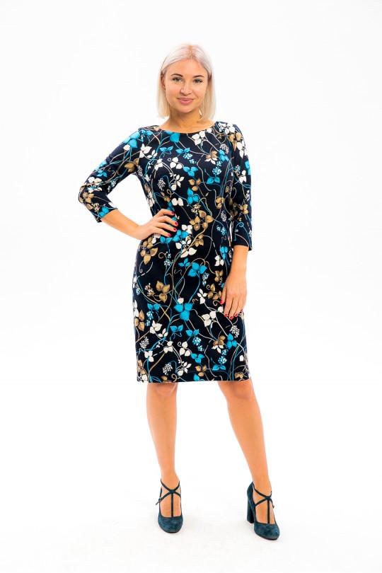 2991-2 - В таком платье из плотного  полотна с красивой набивкой вы всегда будете выглядеть достойно и привлекательно.