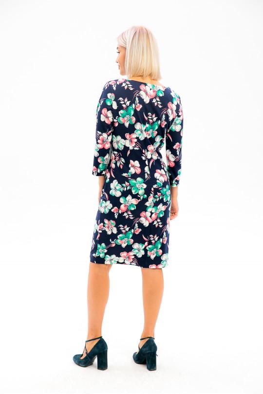 2991-3 - В таком платье из плотного  полотна с красивой набивкой вы всегда будете выглядеть достойно и привлекательно.