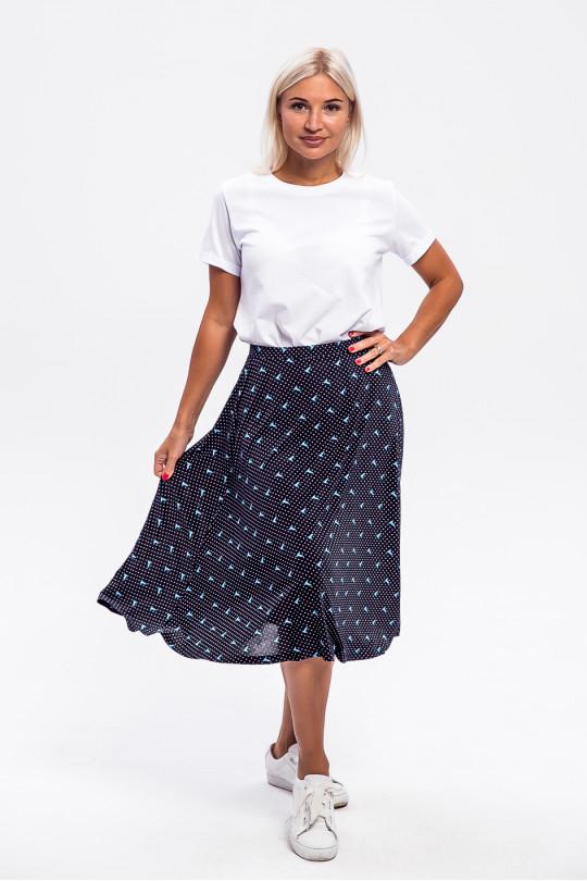 5951-1 - Расклешенная юбка летящего силуэта, По поясу резиновая тесьма.