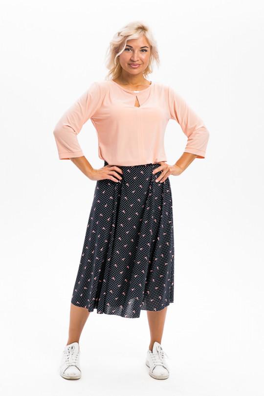 5951-2 - Расклешенная юбка летящего силуэта, По поясу