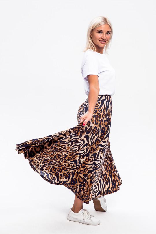5952-3 - Юбка с прекрасной набивкой в леопард, длиной до щиколотки, расклешенная книзу