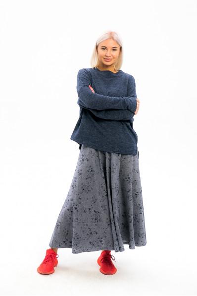 5992 - Длинная юбка из  полотна средней плотности, расклешенная книзу - один из предметов модного стиля осени 2019.