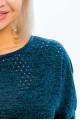 6971-1 - Джемпер из вязаного фактурного полотна подарит Вам незабываемый комфорт. Узкий рукав 3/4 втачан в объемный свободный верх. По низу широкий притачной пояс. Полочка выполнена из ажурного полотна с вкраплением золотой нити.